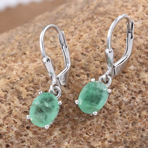 Kagem Zambian Emerald (Ovl) Lever Back Earrings in Platinum Overlay Sterling Silver 2.000 Ct.