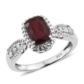 African Ruby (Cush 2.00 Ct), Natural Cambodian Zircon Ring in Platinum Overlay Sterling Silver 2.250 Ct.