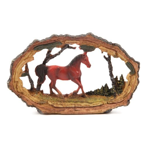 Home Decor - Set of 4 Deer, Red Horse, Leopard and Black Rhinoceros Stand on Stone with Resin