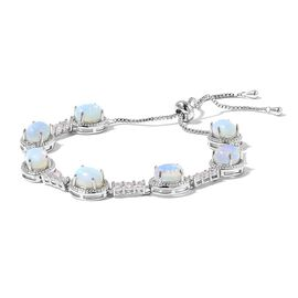 Opalite and Simulated Diamond Adjustable Bracelet (Size 6.5 to 10) in Silver Plated 25.300 Ct.