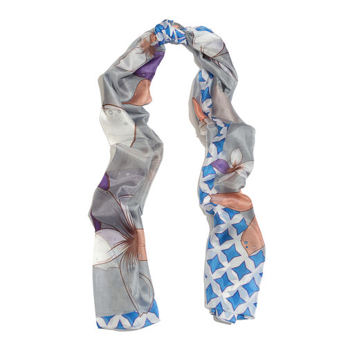 100% Mulberry Silk Grey, White, Blue and Multi Colour Floral Pattern Printed Pareo (Size 180x100 Cm)