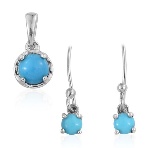 Arizona Sleeping Beauty Turquoise (Rnd) Pendant and Hook Earrings in Platinum Overlay Sterling Silver 1.250 Ct.
