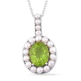 Super Auction- Designer Inspired AAA Rare Size Peridot (Ovl 4.00 Ct), Fresh Water Pearl Pendant with Chain in Rhodium Plated Sterling Silver 6.150 Ct.