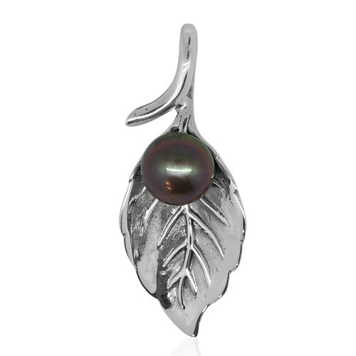 Royal Bali Collection Tahitian Pearl Leaves Pendant in Sterling Silver