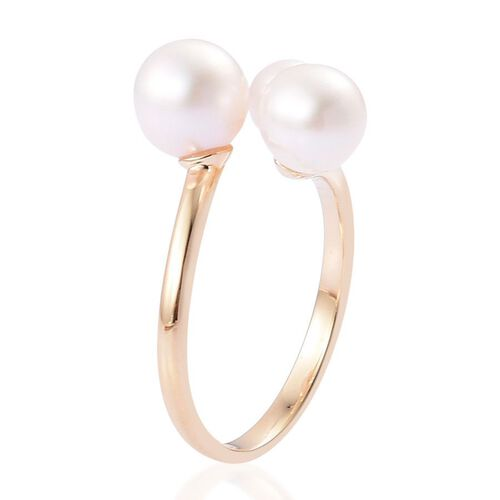 9K Y Gold Japanese Akoya Pearl (Rnd 3.00 Ct) 3 Stone Ring 7.000 Ct.