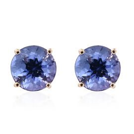 14K Yellow Gold 1.50 Carat AA Tanzanite Round Solitaire Stud Earrings (with Push Back).