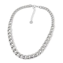 Limited Available Graduated Curb Necklace (Size 20 with 2 inch Extender) in Silver Tone