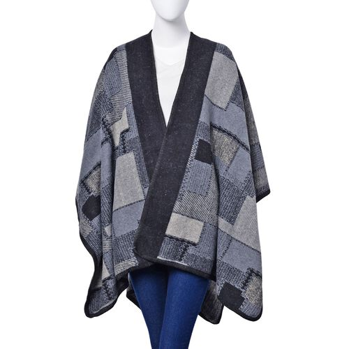 Black and Grey Colour Geomatric Pattern Poncho (Size 123x76 Cm)