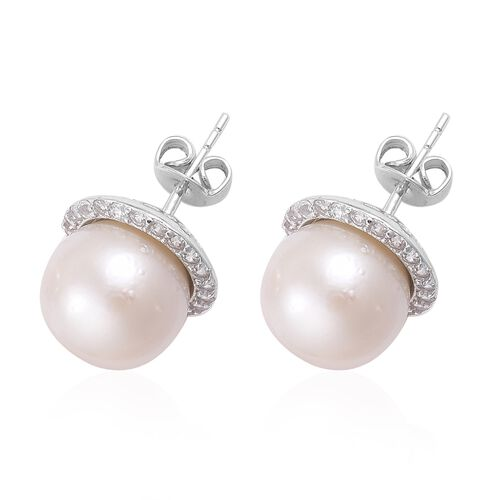 South Sea White Pearl (Rnd 11-11.5 mm), Natural Cambodian Zircon Stud Earrings (with Push Back) in Platinum Overlay Sterling Silver