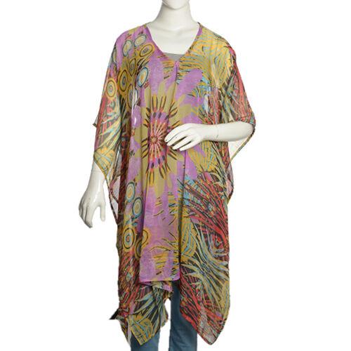 Floral Splash Pattern Blue, Purple and Multi Colour V-Neck Kaftan (Free Size)