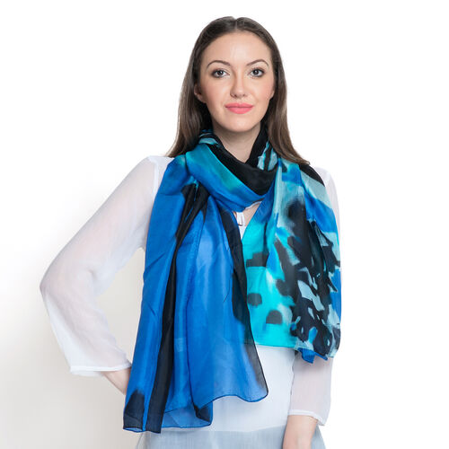 100% Mulberry Silk Capri Blue Black and Multi Colour Printed Stole (Size 180x100 Cm)