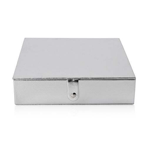 Silver Leather Look Jewellery Box with AntiTarnish Velvet Lining (Size 23x23x6 Cm)