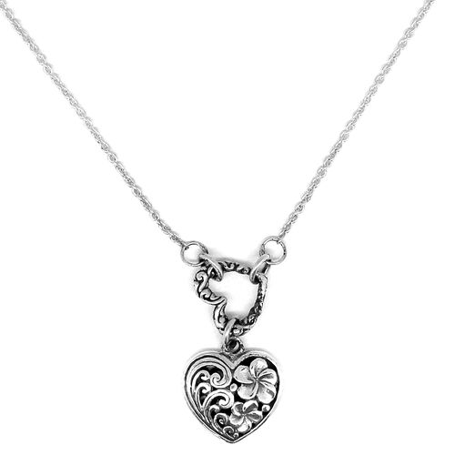 Royal Bali Collection Sterling Silver Heart Necklace (Size 18), Silver wt. 4.50 Gms.