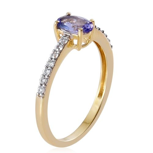 9K Yellow Gold 1 Carat AA Tanzanite Ring with Natural Cambodian Zircon