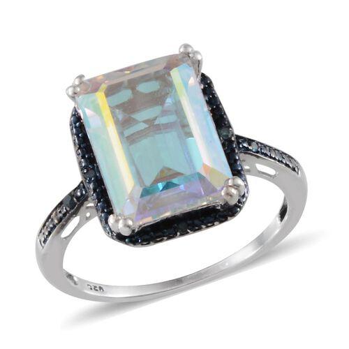 Mercury Mystic Topaz (Oct 8.75 Ct), Blue Diamond Ring in Platinum Overlay Sterling Silver 8.780 Ct.