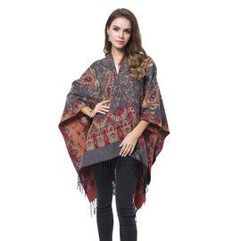 Designer Inspired-Grey, Red and Khaki Colour Paisley Pattern Reversible Kimono with Tassels (Size 127X75 Cm)