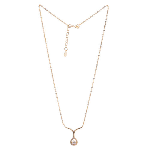 ELANZA AAA Simulated Diamond (Rnd) Necklace (Size 16 with 1.5 inch Extender) in Yellow Gold Overlay Sterling Silver