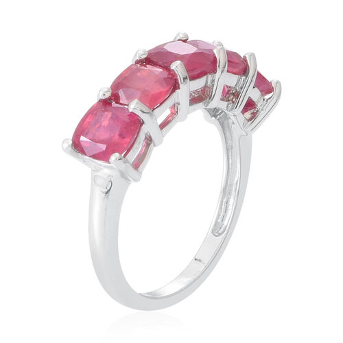 African Ruby (Cush) 5 Stone Ring in Rhodium Plated Sterling Silver 5.005 Ct.