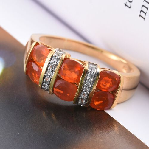 Jalisco Fire Opal (Ovl), Natural Cambodian Zircon Ring in 14K Gold Overlay Sterling Silver 1.500 Ct.