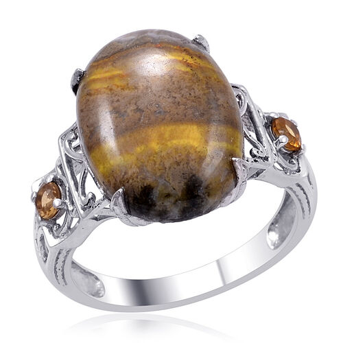 Designer Collection Bumble Bee Jasper (Ovl 11.55 Ct), Citrine Ring in Platinum Overlay Sterling Silver 11.750 Ct.