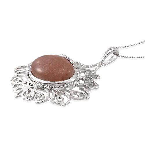 Morogoro Peach Sunstone (Ovl) Pendant With Chain in Platinum Overlay Sterling Silver 16.000 Ct.