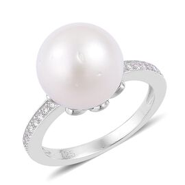 South Sea White Pearl (Rnd 11-12mm), Natural Cambodian White Zircon Ring in Platinum Overlay Sterling Silver