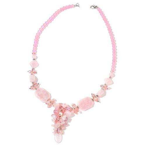 Rose Quartz, Simulated Pink Sapphire, Pink Glass Pearl and Simulated Champagne Colour Diamond Cluster Necklace (Size 29) in Silver Tone 765.00 Ct.