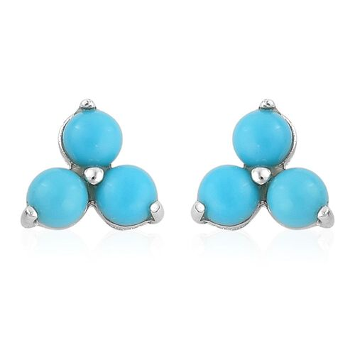 Arizona Sleeping Beauty Turquoise (Rnd) Stud Earrings (with Push Back) in Platinum Overlay Sterling Silver 1.330 Ct.