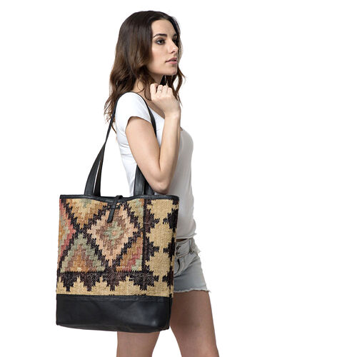 Black Colour Tote Bag Made with Kilim Rugs with an Internal Mobile Pocket (Size 45x42 Cm)
