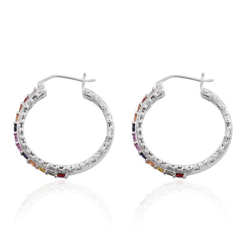 AAA Rainbow Sapphire (Rnd) Hoop Earrings (with Clasp) in Rhodium Plated Sterling Silver 3.240 Ct.Silver Wt 10.02 Gms