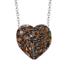 GP Very Rare Red Diamond & Kanchanburi Blue Sapphire Platinum Overlay Sterling Silver Heart Pendant With Chain 0.360 Ct.
