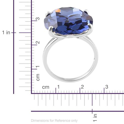 J Francis Crystal from Swarovski - Tanzanite Colour Crystal Ring in Platinum Overlay Sterling Silver