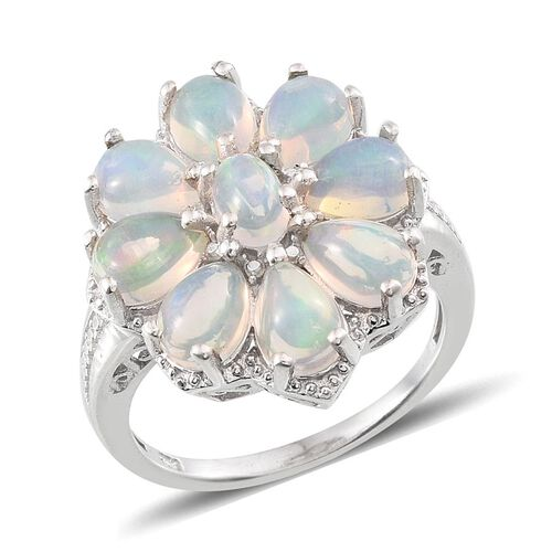 Ethiopian Welo Opal (Ovl), Diamond Floral Ring in Platinum Overlay Sterling Silver 4.010 Ct.