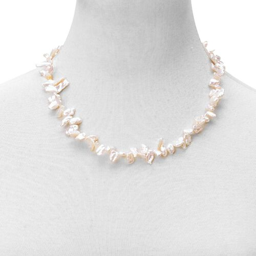 Rare White Keshi Pearl Necklace (Size 20) in Rhodium Plated Sterling Silver with Magnetic Clasp.