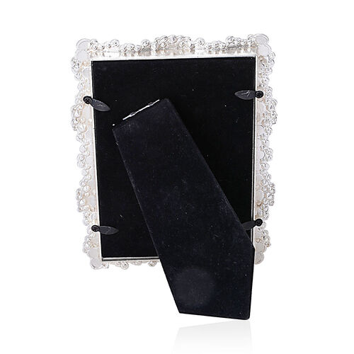 Rectangular Shape Photo Frame in Silver Tone Decorated with White Austrian Crystal and Synthetic Pearl (Size 6x4 inch)
