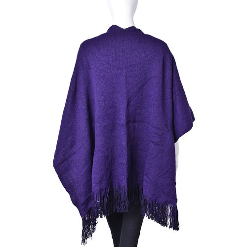 One Time Deal-Dark Purple and Black Colour Reversible Poncho with Tassels (Free Size)