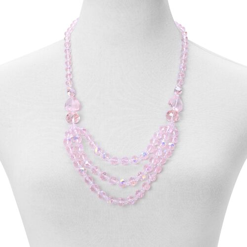 Pink Colour Necklace (Size 26) and Stretchable Bracelet (Size 6.5) in Silver Tone