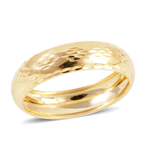 Royal Bali Collection Diamond Cut, Hand Polished 9K Y Gold Band Ring