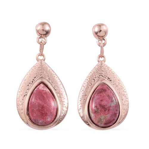 Norwegian Thulite (Pear) Earrings in Rose Gold Overlay Sterling Silver 7.750 Ct.
