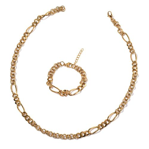 Figaro Necklace (Size 24) and Bracelet (Size 7 with 1 inch Extender) in Yellow Gold Plated Stainless Steel