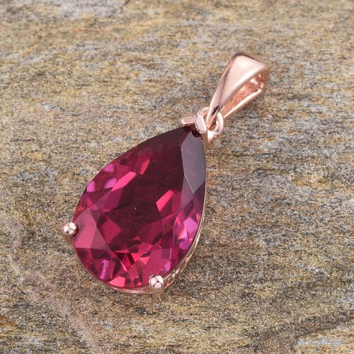 Rubelite Colour Quartz (Pear) Solitaire Pendant in Rose Gold Overlay Sterling Silver 6.000 Ct.