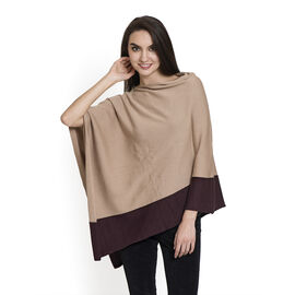 100% Cotton Khaki and Chocolate Colour Jacquard Poncho (One Size Fits All)