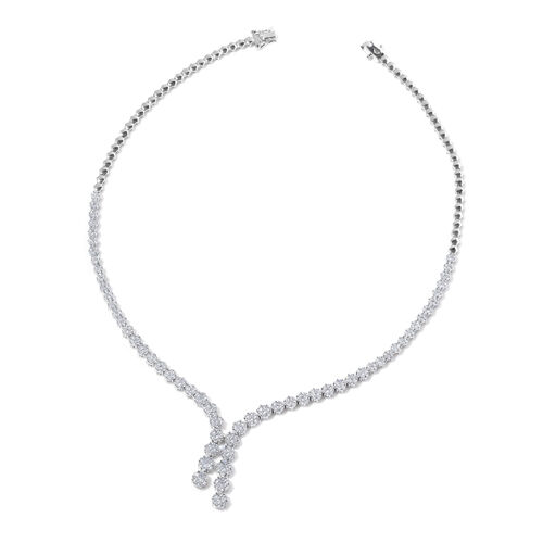 ELANZA AAA Simulated White Diamond Necklace (Size 18) in Sterling Silver, Silver wt 30 Gram