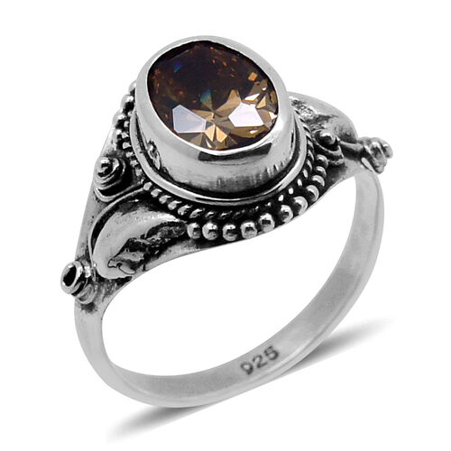 Royal Bali Collection AAA Simulated Citrine (Ovl) Solitaire Ring in Sterling Silver