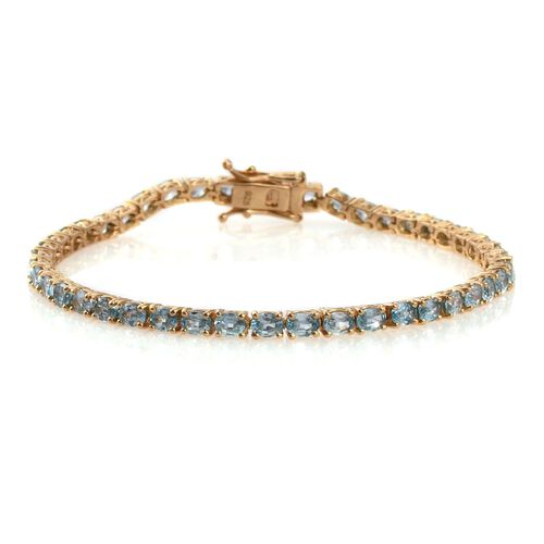 AA Natural Cambodian Blue Zircon (Ovl) Tennis Bracelet (Size 7.5) in 14K Gold Overlay Sterling Silver 10.000 Ct.