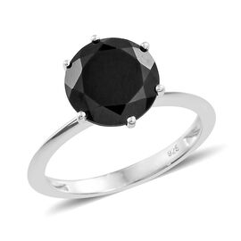 Boi Ploi Black Spinel (Rnd) Solitaire Ring in Sterling Silver 4.000 Ct.