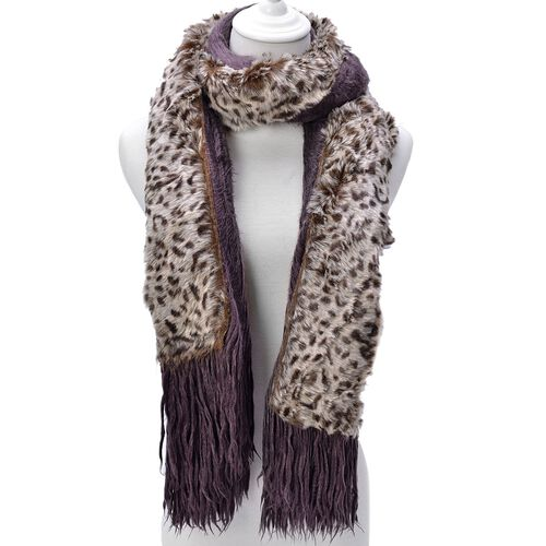 Leopard Pattern Chocolate and White Colour Shawl with Fringes (Size 160x55 Cm)