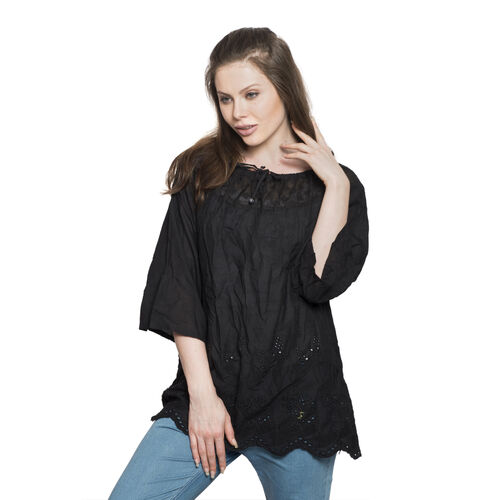 100% Cotton - Italian Punto Tagliato Technique Black Colour Summer Top (Free Size)