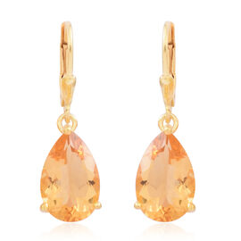 Madeira Citrine (Pear) Lever Back Earrings in 14K Gold Overlay Sterling Silver 7.000 Ct.