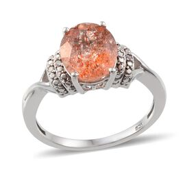Tanzanian Sun Stone (Ovl 3.00 Ct), Diamond Ring in Platinum Overlay Sterling Silver 3.020 Ct.